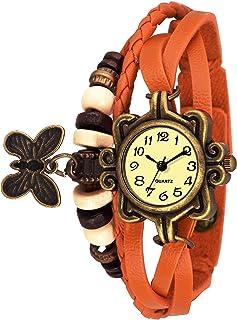 Watzo Butterfly Orange Dori Analog Dial Leather Dori Strap Party Wedding | Casual Watch | Formal Watch | Luxury Watch | Fashion Wrist Watch Specially for Teenager Girls and Women | Dori
