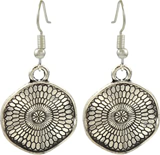 ba2840d2ef4318 High Trendz Oxidised German Silver Stylish 3D Coin Charm Hoop Earrings For  Women And Girls