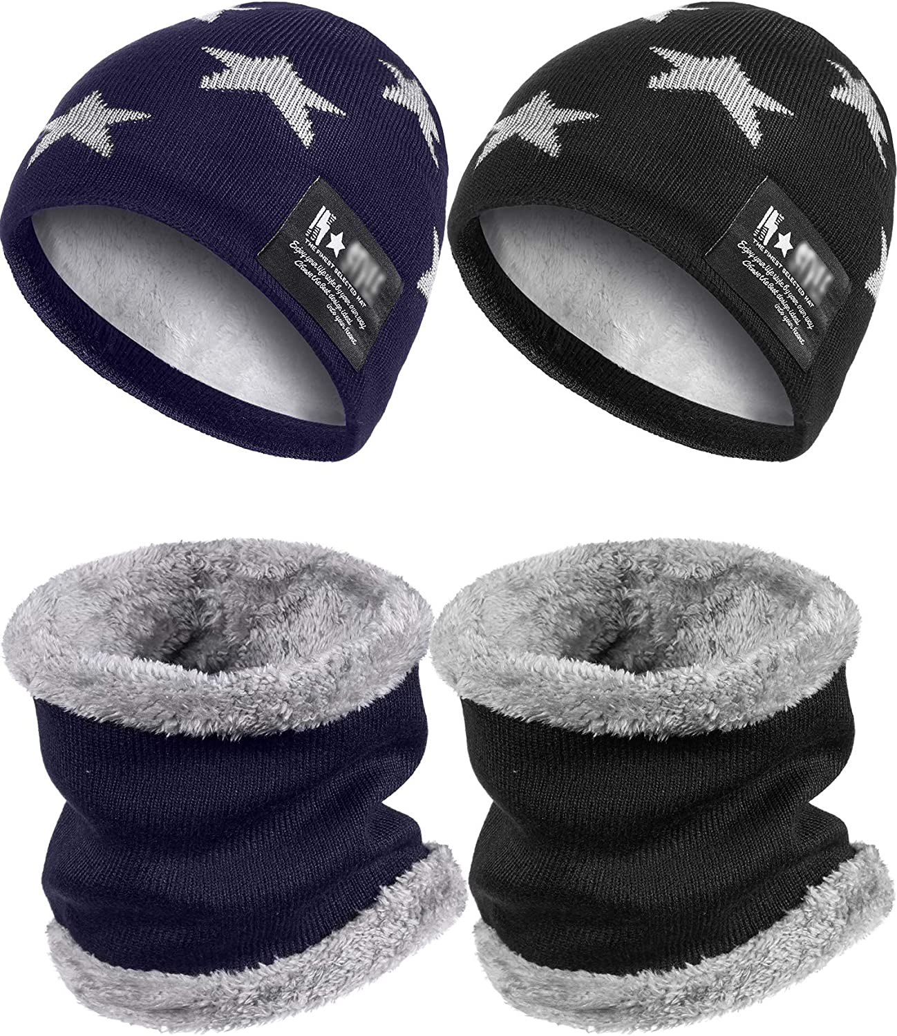 4 Pieces Kids Winter Hat Tube Scarf Set Warm Hat Neck Warmer for 5-14 Years Kids