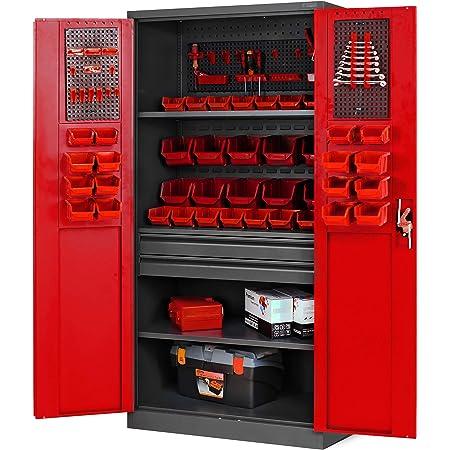 Armario para herramientas TC02AM con cajones, puertas correderas, 3 estantes, recubrimiento de polvo, 185 cm x 92 cm x 50 cm, color antracita y rojo