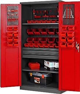 Armario para herramientas TC02AM con cajones, puertas correderas, 3 estantes, recubrimiento de polvo, 185 cm x 92 cm x 50 ...