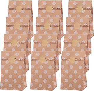Elcoho 48 Pieces Mini Brown Paper Bags with 48 Pieces Stickers Polka Dot Kraft Paper Bags Durable Eco-friendly Lunch Bread...