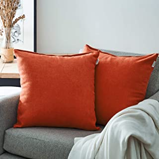 Top Finel Decorative Throw Pillow Covers for Couch Bed Soft Chenille Solid Cushion Covers 20 x 20 Inch 50 x 50 cm, Pack of 2, Red Orange