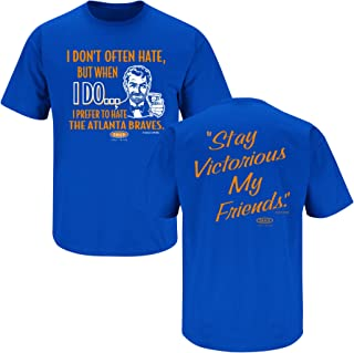 Smack Apparel NY Baseball Fans. Stay Victorious. I Don't Often Hate. Blue T-Shirt (Sm-5x)
