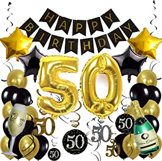 30th 40th 50th Birthday Decorations, with Happy Birthday Banner, Black and Gold Balloons, Number Balloons, Best Party Decorations and Happy Birthday Decorations