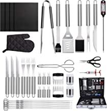 SYCEES 40 in 1 Grill Accessories Tool Set, Stainless Steel BBQ Grill Tools with Thermometer, Grill Mats for Camping/Backya...
