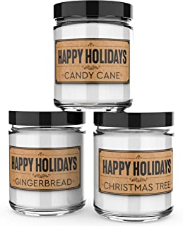 Scented Candles - Happy Holidays - Set of 3: Christmas Tree, Candy Cane, and Gingerbread - 3 x 4-Ounce Soy Candles - Each ...