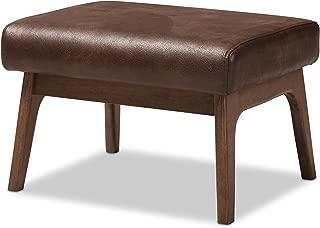 Baxton Studio 424-7547-AMZ Birk Mid-Century Modern Walnut Wood Dark Brown Distressed Faux Leather Ottoman