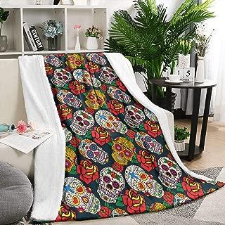 Sugar Skulls and Roses Dead Summer Thick Reversible Blanket Lightweight Living Room/Bedroom Warm Throw Blanket Flannel Fleece Blanket, 59 X 79 Inch
