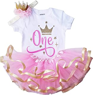Perfect Pairz Pink Gold Tutu Set and Crown