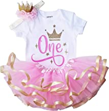 1st Birthday Outfit Girl Pink Gold Tutu Set and Crown