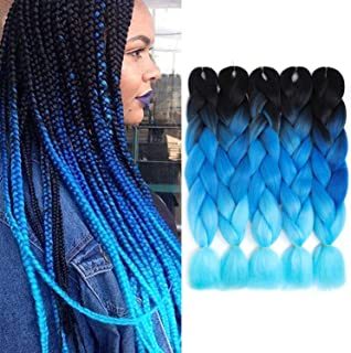 5Pcs/Lot Ombre Jumbo Braiding Hair Black/Sky/Blue Ombre Twist Braids Hair High Temperature Synthetic Hair Extensions 24Inch