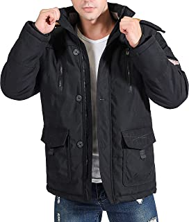 Men's Parka Winter Warm Faux Fur Lined Coat Jacket with Detachable Hood
