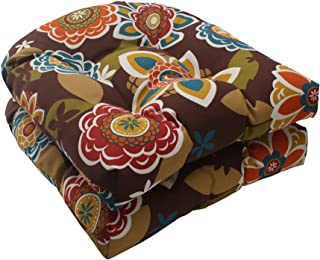 Pillow Perfect Indoor/Outdoor Annie Wicker Seat Cushion, Chocolate, Set of 2,Annie Chocolate