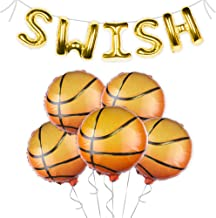 OMG Party Factory Basketball Party Decorations | SWISH Balloon Banner + Basketball Sports Themed Birthday Party Supplies f...