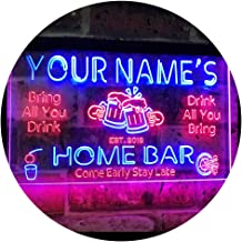 Personalized Your Name Custom Home Bar Beer Established Year Dual Color LED Neon Sign Red & Blue 400 x 300 mm st6s43-p1-tm-rb