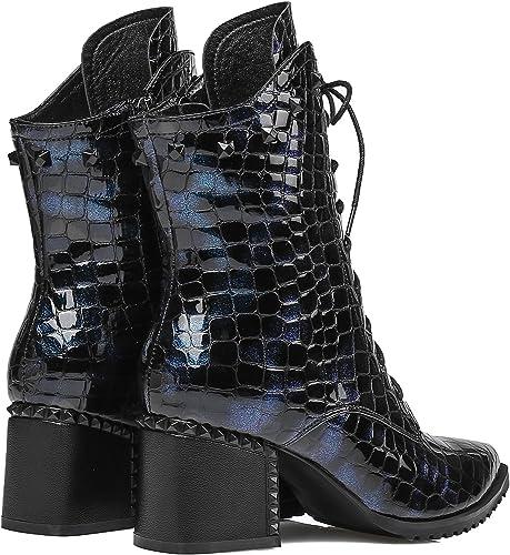 GTVERNH-Strappy Lace botas de tacón alto botas de cuero botas de cuero mujer cilindro