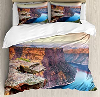 Wyoming Duvet Cover Set, Aerial Vista Photo of Flaming Gorge National Recreation Area Panorama at Sunset, Decorative 3 Piece Bedding Set with 2 Pillow Shams, King Size Bed Sheets, Multicolor