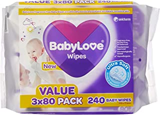BabyLove Fragrance Free & Hypoallergenic Baby Wipes, 720 wipes total (3 x 3 x 80 pack)