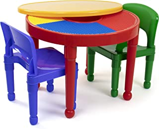 Tot Tutors Kids 2-in-1 Plastic Building Blocks-Compatible Activity Table and 2 Chairs Set, Round, Primary Colors