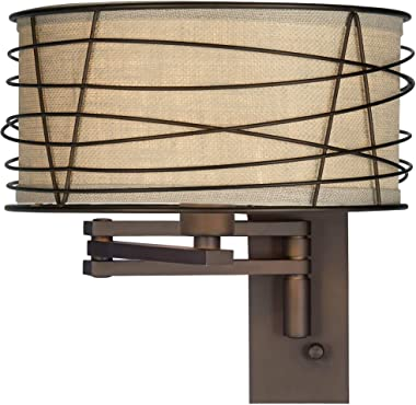 Marlowe Rustic Farmhouse Swing Arm Wall Lamp Bronze Plug-in Light Fixture Wire Cage Burlap Drum Shade for Bedroom Bedside Liv