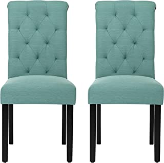 Solid Wood Tufted Parsons Dining Chair with Fabric Upholstery, Set of 2, Teal