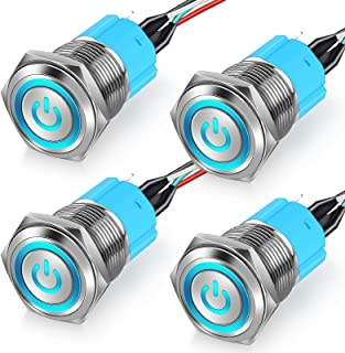 4 Pieces 16 mm Latching Push Button Chassis Switch Metal Button Switch with 19 Inch Extension Cable Blue Switch Symbol Sui...