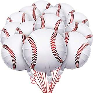 16 Pieces 18 Inches Baseball Balloons Foil Mylar Baseball Balloons for Baby Shower Birthday Party Sports Themed Party Deco...