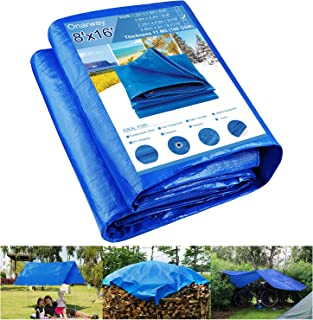 Onarway Tarp 8' X 16' Thicken 11 Mil Heavy Duty Waterproof Tarpaulin with Grommets, for Outdoor Shelter, Roof Cover, Garde...