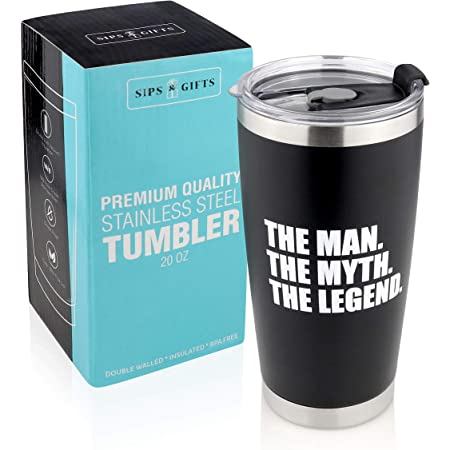 Amazon Com The Man The Myth The Legend Personalized Travel Mug Black Custom Product Kitchen Dining