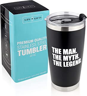 Father's Day Gifts -The Man, The Myth, The Legend -20 oz Stainless Steel Tumbler| Gifts for Men Under 25 Dollars -Funny Sayings Best Dad -Travel Coffee Mug Hot & Cold Drink -Beer Cup for Husband