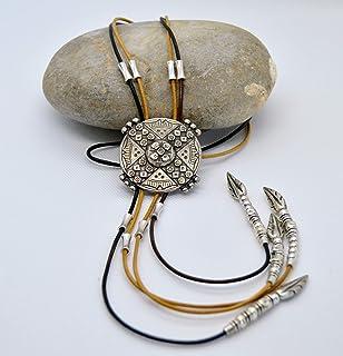Collana lunga in cuoio e zama argento stile boho per le donne