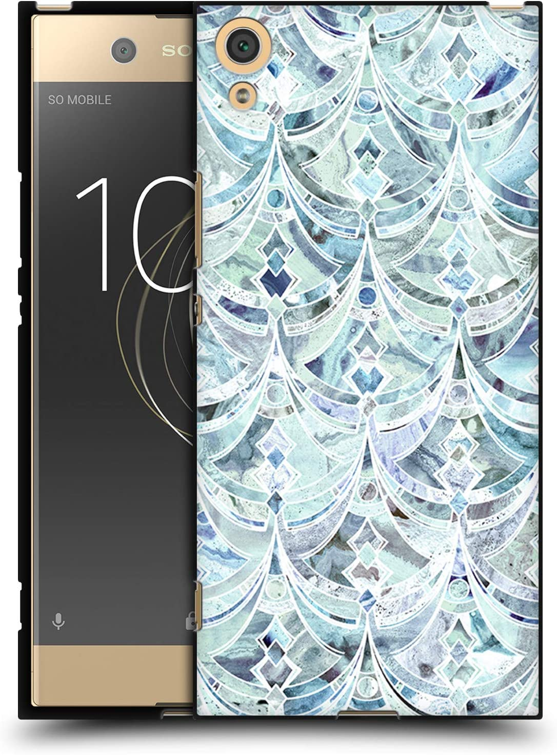 Official Micklyn Le Feuvre Jade Honeycomb Marble Patterns Black Soft Gel Case Compatible for Sony Xperia XZ1 Compact