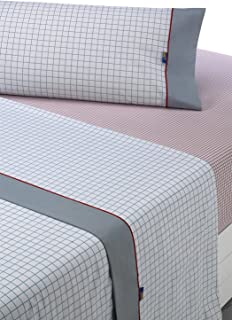 sabanalia Checks Bedding Set Full, gris-rojo, Bed 150, 3