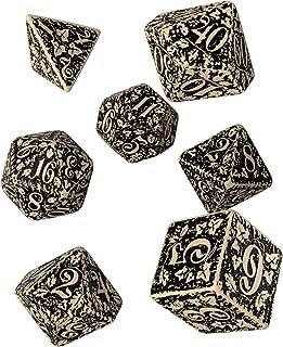 Q WORKSHOP Forest Engraved beige & black RPG ornamented Dice Set 7 polyhedral pieces