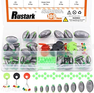Rustark 109 Pcs Removable Fishing Weights Sinkers Assortment Set 2g 3g 5g 7g 10g 15g 20g 25g 30g 40g 50g Olive Shape Bass ...