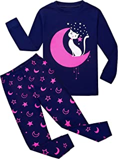 Tkiames Pijama para Niña de Jirafa 2 Pieza Precioso Pijama 100% algodón 1-7 Anos