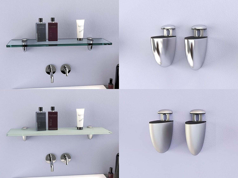 DURAFURN® Glasablage 20 mm x 20 mm x 20 mm als Variante klares Glas mit  Edelstahlhalter Glasregal Spiegelablage Badablage Wandhalter Wandregal ...