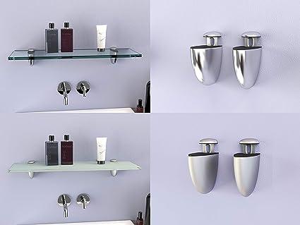 300 x 100 mm Schwarz gl/änzend Glasablage mit zwei Chrom-Finish-Klammern