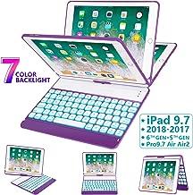 iPad Keyboard Case 9.7 for iPad 2018 (6th Gen) - 2017 (5th Gen) - iPad Pro 9.7 - iPad Air 2 & 1, 7 Color Backlit Keyboard Case/360 Rotate Wireless/BT Keyboard Case with Auto Sleep/Wake (Purple)