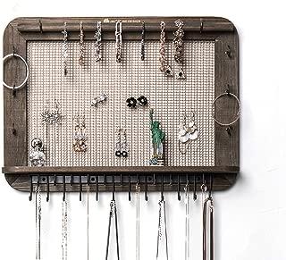 JackCubeDesign Wall Mounted Wood Jewelry Organizer Designer Made Cosmetics Storage Shelf w/Necklace Shelf Earrings Holder Tray with 23 Hooks for Necklace Bracelet – :MK399A