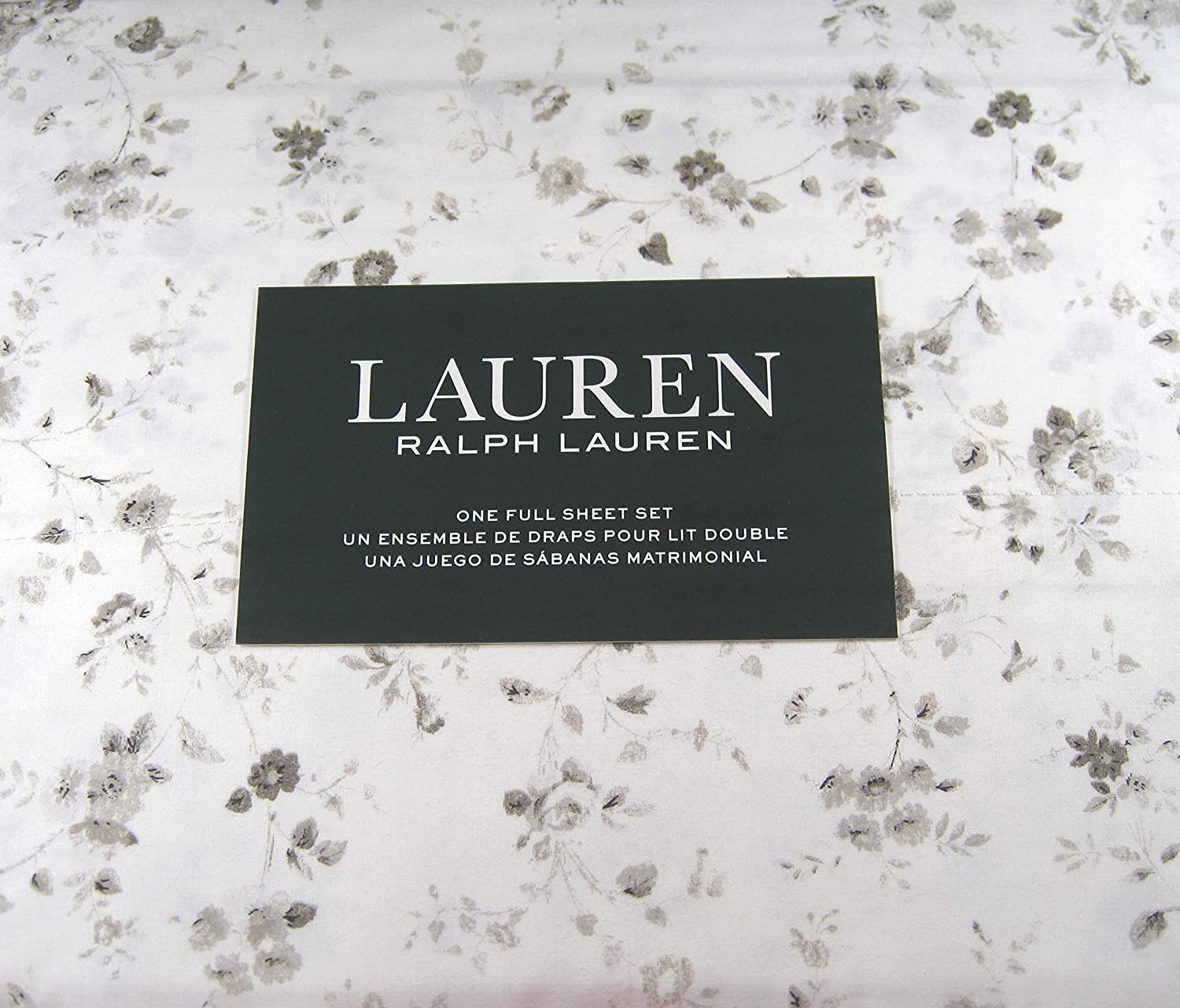 Lauren Full Charlotte Mall Size Floral Max 83% OFF Print Sheet White Set Gray Cotton and