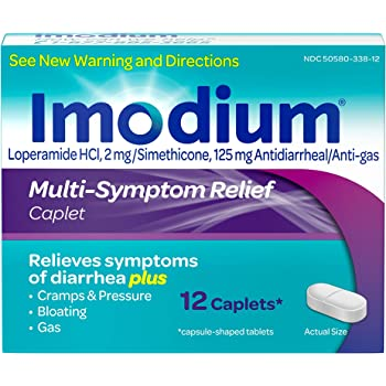 Imodium Multi-Symptom Caplets for Diarrhea Relief with Gas, Bloating & Cramps, 12 ct.