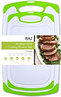 Raj Plastic Cutting Board Reversible Cutting board, Dishwasher Safe, Chopping Boards, Juice Groove, Large Handle, Non-Slip, BPA Free, FDA Approved (Set of Two, Green)