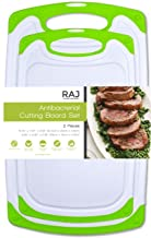 Raj Plastic Cutting Board Set of 2, Reversible Cutting board, Dishwasher Safe, Chopping Boards, Juice Groove, Large Handle, Non-Slip, BPA Free, FDA Approved, White board with Green boarder