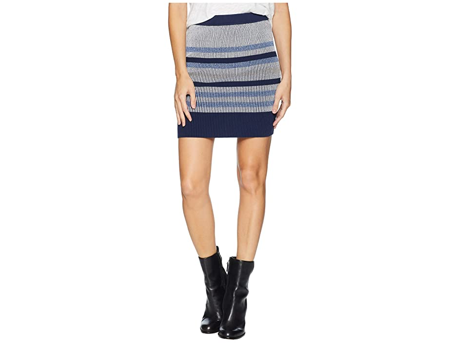 BCBGeneration Plaited Striped Skirt (Blue Combo) Women