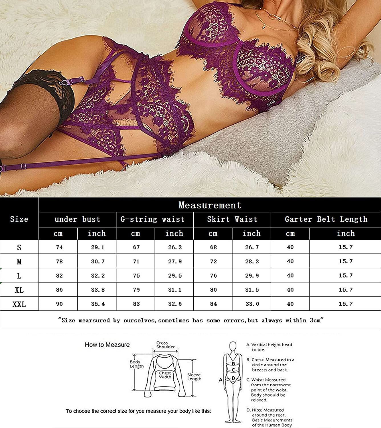 Tracy's Dog Women Sexy Lingerie Set with Garter Belt Floral Lace Bra and Panty Set Strappy Bodysuit Lingerie Blue XXL