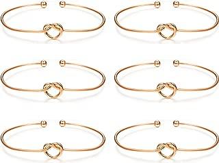 6 Pcs Love Knot Bangle Bracelets Simple Cuffs Bridesmaid Bracelets for Women Girls Stretch Bracelets