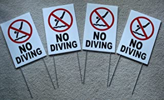 4-Pc Excited Unique No Diving Symbol Yard Sign Board Decal Outdoor Warning Beach Coroplast Peeing Pond At Your Own Risk Swimming Swim Post Lifeguard On Duty Keep Water Allowed Size 8