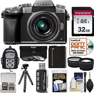 Panasonic Lumix DMC-G7 4K Wi-Fi Digital Camera & 14-42mm Lens (Silver) with 32GB Card + Backpack + Battery + Flex Tripod + Filters + Tele/Wide Lens Kit